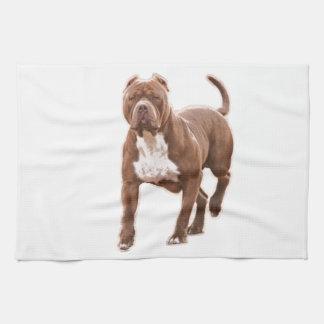 Pit bull brown tea towel