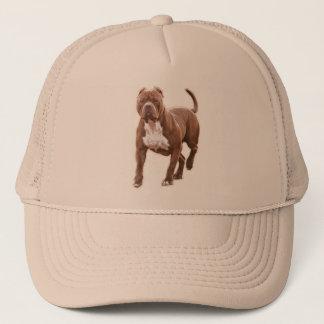 Pit bull brown trucker hat