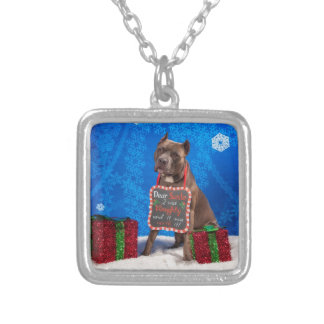 Pit-Bull Christmas Silver Plated Necklace