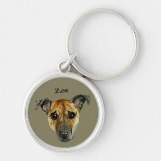 Pit Bull Dog Close Up Watercolor Painting Key Ring