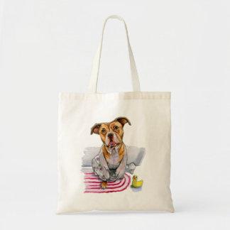 Pit Bull Dog in Bathrobe Watercolor Painting Tote Bag