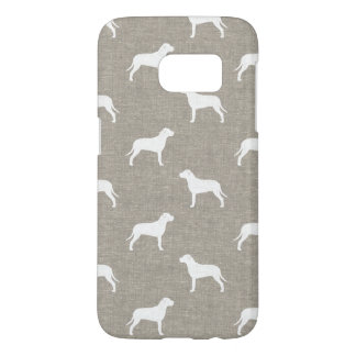 Pit Bull Dog Silhouettes Faux Linen Style