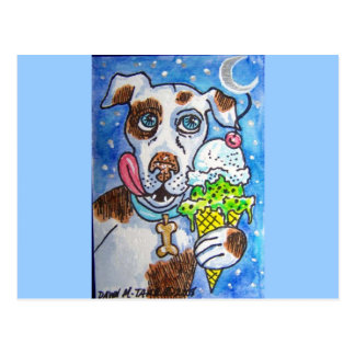 PIT BULL ICE CREAM POSTCARD