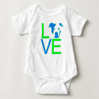 Pit Bull Love - Neon Green and Blue Baby Bodysuit