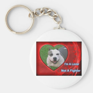 Pit Bull Lover Basic Round Button Key Ring