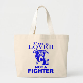 PIT BULL LOVER NOT A FIGHTER JUMBO TOTE BAG