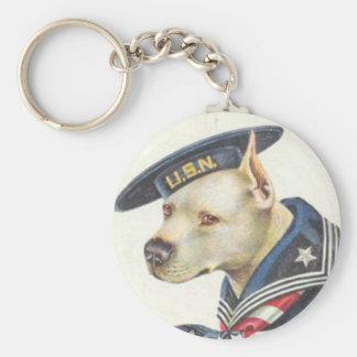 Pit Bull Navy Basic Round Button Key Ring