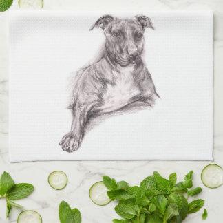 Pit Bull Portrait in Charcoal Tea Towel