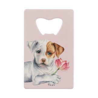Pit Bull Puppy Holding Lotus Flower Painting