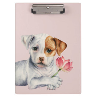 Pit Bull Puppy Holding Lotus Flower Painting Clipboard