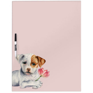 Pit Bull Puppy Holding Lotus Flower Painting Dry Erase Board