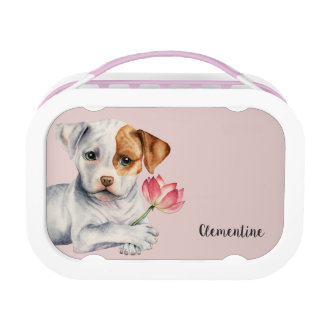 Pit Bull Puppy Holding Lotus Flower Painting Lunch Box