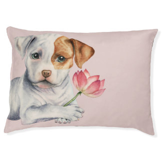 Pit Bull Puppy Holding Lotus Flower Painting Pet Bed