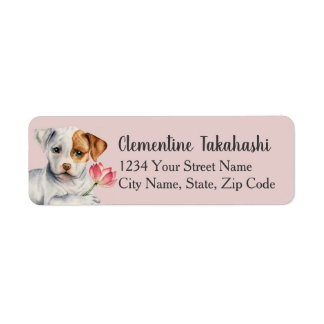 Pit Bull Puppy Holding Lotus Flower Painting Return Address Label