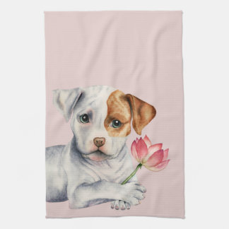 Pit Bull Puppy Holding Lotus Flower Painting Tea Towel