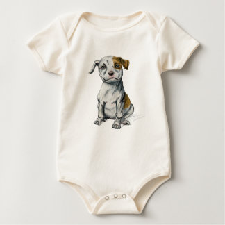 Pit Bull Puppy Sketch Drawing Baby Bodysuit