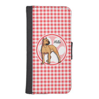 Pit Bull; Red and White Gingham Phone Wallet