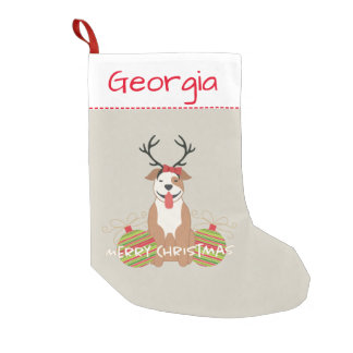 Pit Bull Reindeer (Female) Merry Christmas Pet Small Christmas Stocking