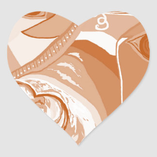 Pit Bull Sepia Tones Heart Sticker