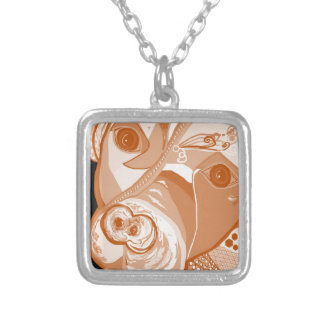 Pit Bull Sepia Tones Silver Plated Necklace
