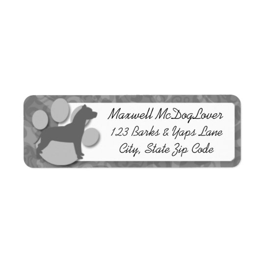 Pit Bull Silhouette Return Address Label