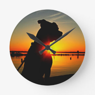 Pit Bull Sunrise Wall Clocks
