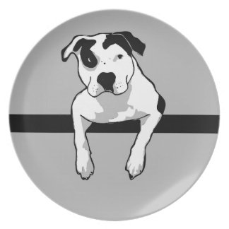 Pit Bull T-Bone Graphic Party Plate