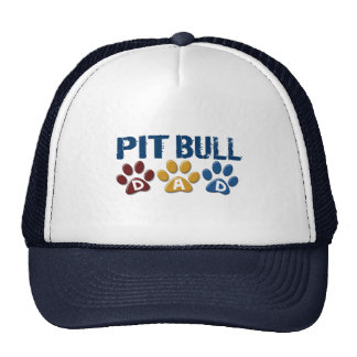 PIT BULL TERRIER Dad Paw Print 1 Trucker Hats