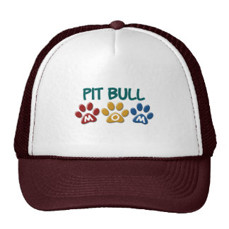 PIT BULL TERRIER Mom Paw Print 1 Mesh Hats