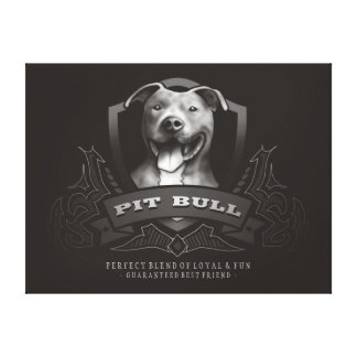 Pit Bull Vintage Brown & White - Loyal & Fun Art Canvas Print
