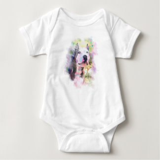 Pit Bull Water Colour Baby Bodysuit
