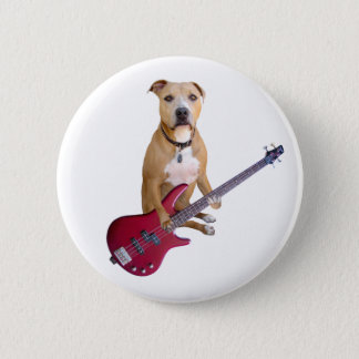 Pit Bull with Guitar 6 Cm Round Badge