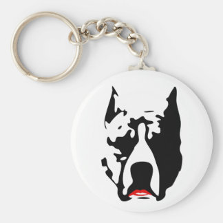 Pit Bull with Lipstick Basic Round Button Key Ring