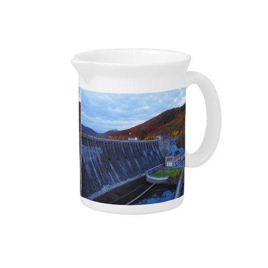 Pit Cher Edersee concrete dam in the autumn Beverage Pitcher