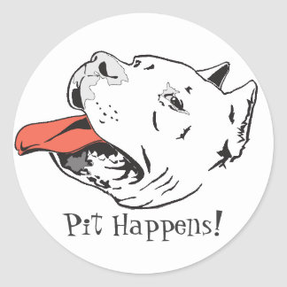 Pit Happens Funny Pit Bull Round Stickers