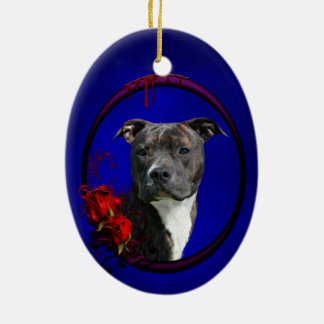 Pitbull and bloody roses ceramic ornament