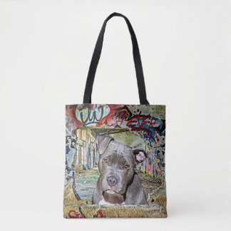 Pitbull and Hairless Cat Graffiti Artwork Tote Bag