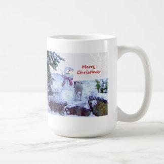 Pitbull and Snowman Christmas Mugs