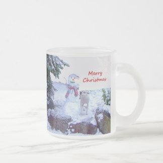 Pitbull and Snowman Christmas Mug