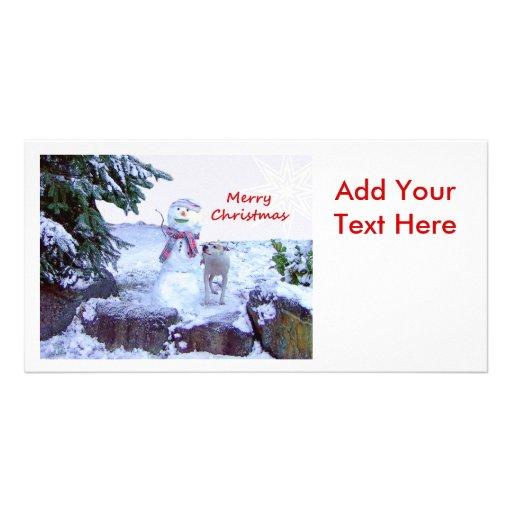 Pitbull and Snowman Christmas Customized Photo Card