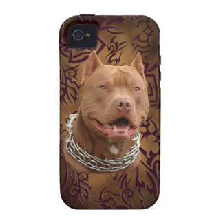 Pitbull brown tribal tattoo Case-Mate iPhone 4 covers