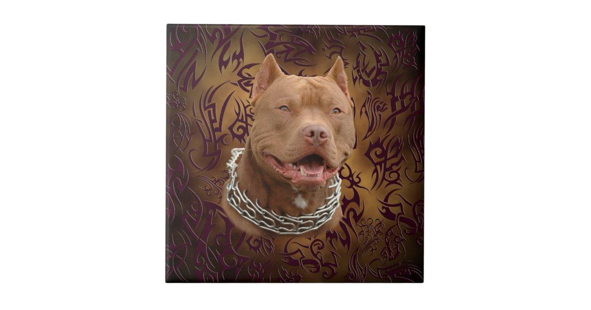 pitbull brown tribal tattoo small square tile zazzle. Black Bedroom Furniture Sets. Home Design Ideas