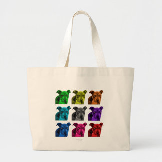 pitbull dog art 0785 large tote bag