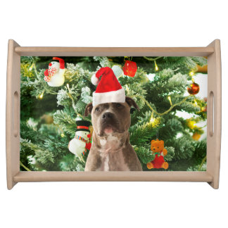 Pitbull Dog Christmas Tree Ornaments Snowman Serving Tray