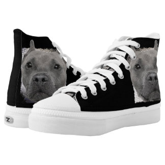 Pitbull Dog high top tennis shoes