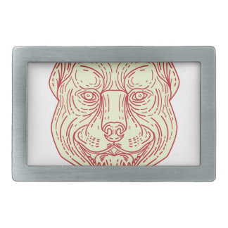 Pitbull Dog Mongrel Head Mono Line Belt Buckle