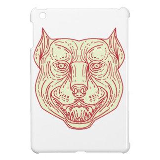 Pitbull Dog Mongrel Head Mono Line Cover For The iPad Mini