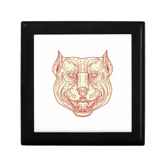 Pitbull Dog Mongrel Head Mono Line Gift Box