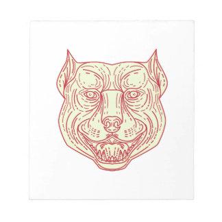 Pitbull Dog Mongrel Head Mono Line Notepad