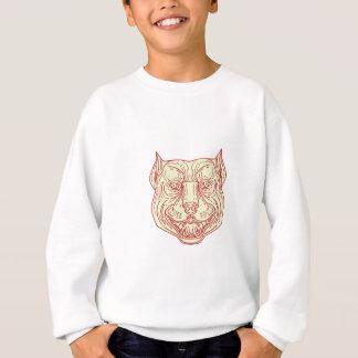 Pitbull Dog Mongrel Head Mono Line Sweatshirt